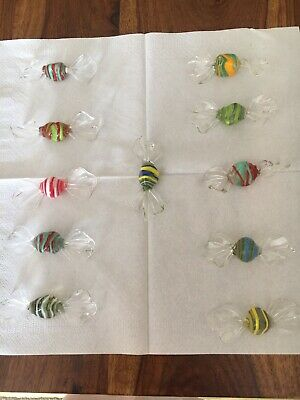 Vintage 11 X Murano Glass Sweets Candy Decorations Venice Italy Multicoloured • 4.40£