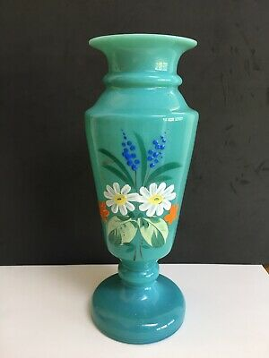 Vintage Pretty Opaline Green Glass Vase Turquoise Floral Hand Painted • 19.95£