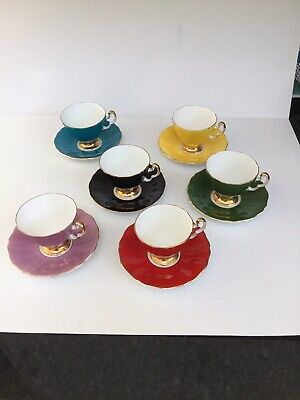 Adderley Bone China 6 Cups & Saucers - Harlequin Colours • 60£