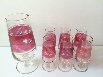 Vintage Cranberry Ruby Red Glass Jug And Six Glasses. • 29.99£
