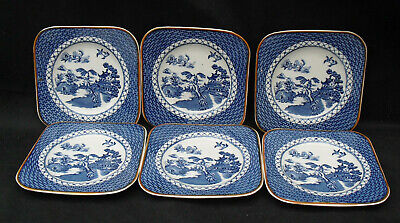Wood & Sons Blue & White Sandwich Plate Side Plates Willow Pattern X 6 Vintage • 12£
