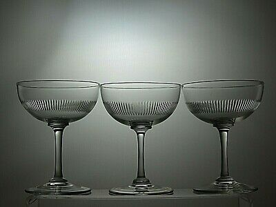 Cut Glass Crystal Dessert Bowls, Champagne Coupe Tall Sherbet Set Of 3 • 34.99£