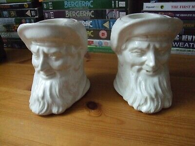 Mystery Vintage Creamware Candlesticks Candle Holders Caricature Moore Marriott • 120£