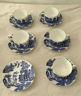 Coalport Bone China Willow Coffee Cup And Saucer Set With Gold Trim  • 95£