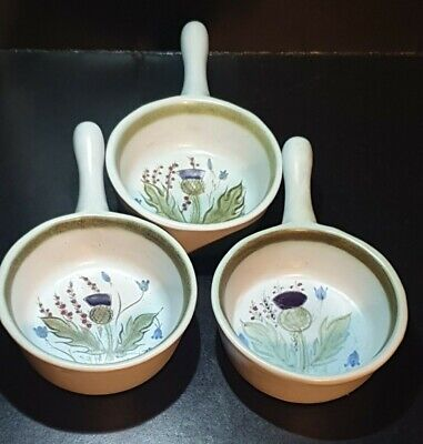 Set 3 Buchan Stoneware Small Skillets - Scottish Thistle Pattern • 24.99£