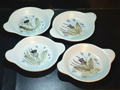 Set 4 Buchan Stoneware Small 2 Handled Dishes - Scottish Thistle Pattern • 24.99£