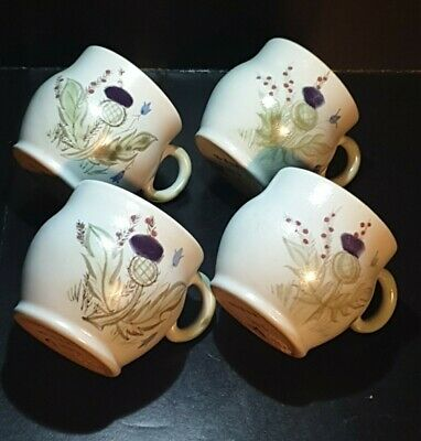 Set 4 Buchan Stoneware Small Tea/coffee Cups - Scottish Thistle Pattern • 24.99£