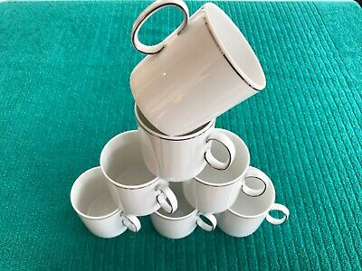- 7 - Thomas Germany Porcelain Medallion Coffee Cups Only Thin Platinum Band  • 8.95£