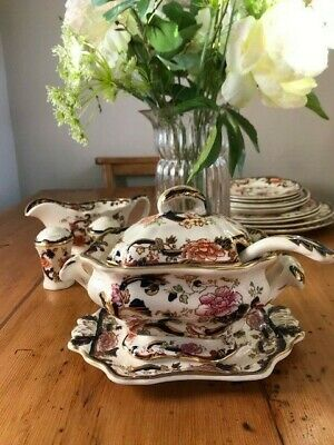 Mason's Ironstone Blue Mandalay Tureen, Ladle And Underplate -Superb Condition • 110£