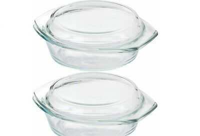 1.0 LITRE, Clear Round Glass Casserole Store, Oven, Freezer And Dishwasher Safe  • 7.99£