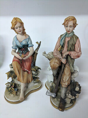 Pair Of Vintage Capodimonte Porcelain Figurine Signed Luciano Cazzola Boy, Girl • 49.99£