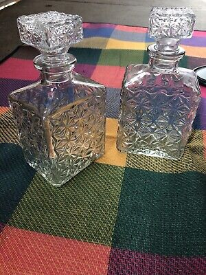 2 Vintage Glass Decanters With Stoppers • 2.80£
