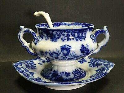 Antique Flow Blue Tureen With Underplate Blue And White • 45£