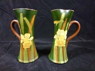 Watcombe Devon Daffodil Vases, Pair In Excellent Condition. 6  Tall. • 25£