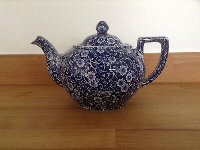 Crownford China Staffordshire Calico Blue Teapot Vintage Good Condition • 38£