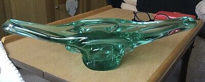 Lovely Large Heavy Sea Green Moulded Glass Dish/Vase No Markings • 2.20£
