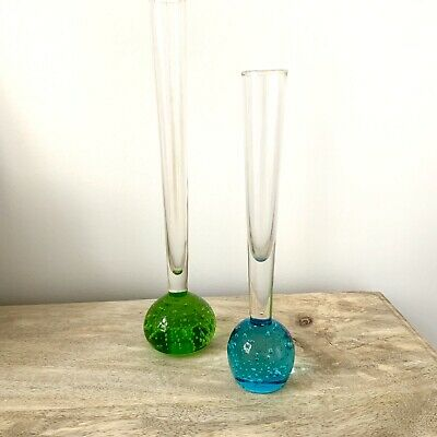 Two Murano Glass Bubble Bud Vases, Blue And Green • 18£