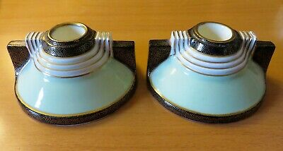 Art Deco Hand Painted Candle Holders, Manufactured By Plant Tuscan China 1936 • 21.99£