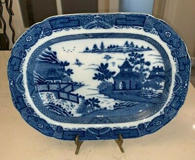 Vintage/Antique? Blue And White  Meat Dish Plate 32cm Long  • 9.50£