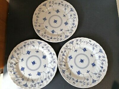 3 Churchill's BLUE DENMARK Fine English Tableware Dinner Plates  10   • 7.99£