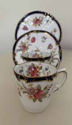 Antique Pointons China England Pair Of Floral Gilded Coffee Cups And Saucers • 22£