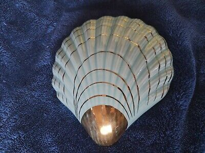 Vintage Shell Wall Vase / Pocket / Planter / Sconce, Green With 22 Carat Gold • 9.99£