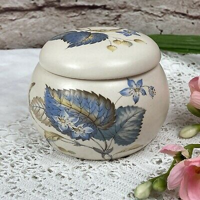 Axe Vale Pottery Devon Blue Leaf Lidded Jar For Sugar Trinkets Ornament Display • 7.99£