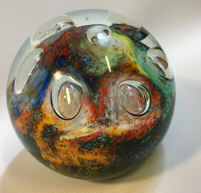 Italy Kristai Colourful Bubble Art Glass Spherical Paperweight  • 9.99£