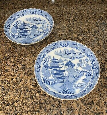 2 X Vintage Blue And White Bowls 20 Cm Diameter, Asian Makers Mark • 7.50£