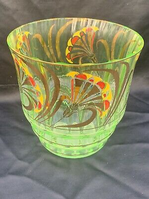 Antique Green Uranium VaselIne Cut Glass Jardinaire Gilt And Painted Decoration • 45£