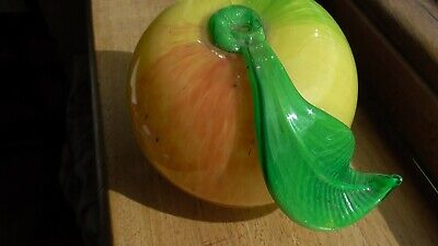 Hand Made Glass Apple 7cm High With Pontil Mark And Hand Applied Leaf. • 4£