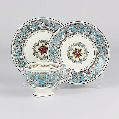 Wedgwood Florentine Turqouise Cup Saucer Side Plate Trio • 49£
