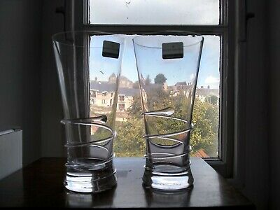 Dartington Glass Boxed Pair Of Spark Tumblers New Unused With Labels Signed • 20£