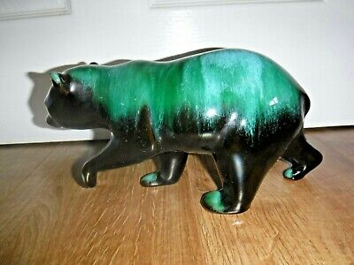 Blue Mountain Pottery ~ BMP ~ Large Walkiing Bear ~ Greens & Blacks ~ Excellent  • 14.99£