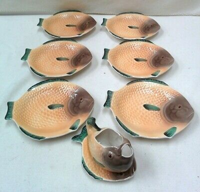 8  Piece Shorter And Son Fishware Set 6 Plates, Sauce Boat & Underplate Art Deco • 9.99£