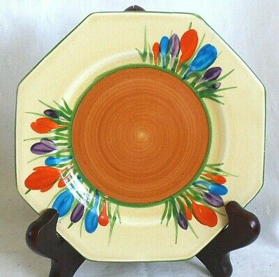 Clarice Cliff Bizarre Crocus Pattern Hexagonal Tea Plate • 25£