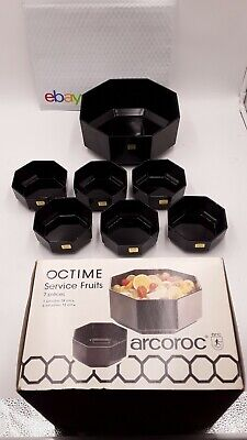 Luminarc Arcoroc OCTIME BLACK Octagonal Serving Bowl 9.5  7 Pc Fruit Set  • 37.36£
