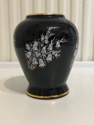 Prinknash Pottery England Gloucester Little Bowl Gold Black Floral • 5.99£
