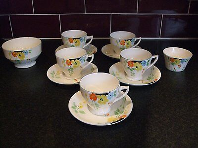 Vintage Art Deco Radfords Crown China 5 Cups And 5 Saucers Sugar Bowls Flowers • 24£