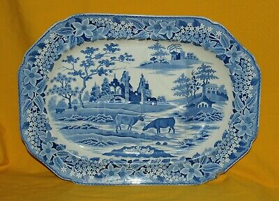 PEARLWARE BLUE TRANSFER PRINT MEAT PLATE; CATTLE & RUINS DESIGN C1820s • 35£