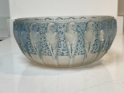 Rene Lalique Large 'Perruches' Bowl - Blue Tinted • 2,850£