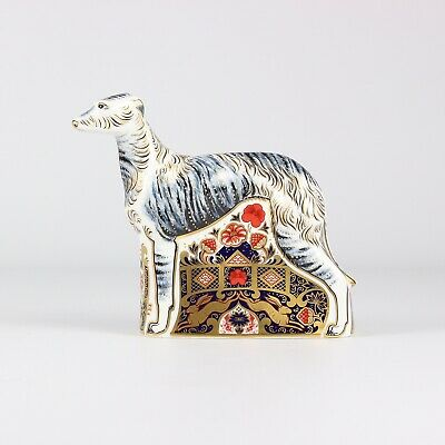 Royal Crown Derby Paperweight Dog Lurcher Silver Stopper • 215£