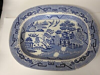 Large Antique Blue & White Willow Pattern Platter Meat Plate • 22.99£