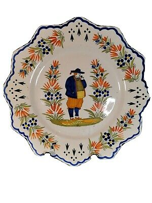 Henriot Quimper Faience Plate Hand Painted #2 • 29.99£