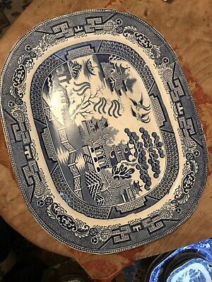 """Large Antique Blue & White Willow Pattern Platter Meat Plate. 18.5"""" • 27.70£"""