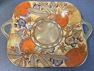 RARE Charlotte Rhead Bursley Ware Hand Painted Square Platter W/Handles Signed  • 65£
