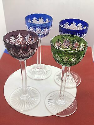 Set Of 4 St. Louis France Crystal Liquor Wine Glasses Excellent Condition • 85£