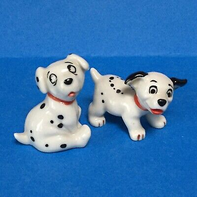 WADE Dalmatian Dogs LUCKY & ROLY Pair From DISNEY HATBOX 101 Film Rare. • 20£