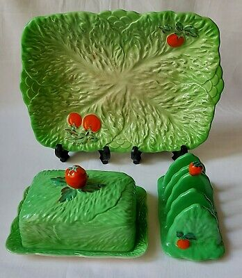 Vintage Beswick Ware Pottery Green Leaf Tomato Plate Butter Dish Toast Rack • 32£