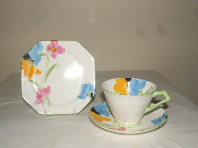 Paragon Art Deco Handpainted Floral Conical Tea Trio Truly Stunning • 14.99£